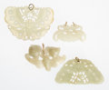 Carvings, Four Chinese Carved Jade Pendants 2 x 2-3/4 inc...