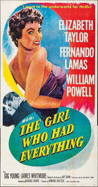 """The Girl Who Had Everything (MGM, 1953). Folded, Very Fine-. Three Sheet (41"""" X 79""""). Romance"""