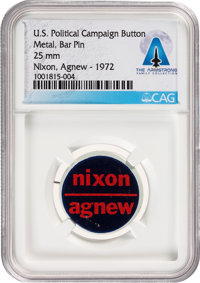 """Armstrong Family Personal: Nixon & Agnew 1"""" Political Button, 1972, Directly From The Armstrong Family Coll..."""