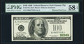 Missing Printing of Treasury Seal Error Fr. 2176-J $100 1999 Federal Reserve Note. PMG Choice About Unc 58 EPQ