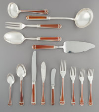 A Two Hundred and Forty-Two-Piece Christofle Talisman Pattern Silver-Plated and Lacquer Flat