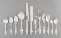 A One Hundred and Thirty-Seven-Piece Assembled Whiting Mfg. Co. Lily Pattern Silver Flatware