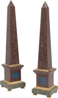 Decorative Accessories, A Pair of Gilt Bronze-Mounted Marble Obelisks. 33-1/2 x 7-1/4 x 7-1/4 inches (85.1 x 18.4 x 18.4 cm) (each). ... (Total: 2 )