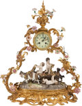 Clocks & Mechanical:Clocks, A Gilt Bronze Mounted Porcelain Mantle Clock. 24 x 20 x 10 inches (61.0 x 50.8 x 25.4 cm). ...