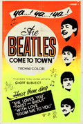 "Movie Posters:Rock and Roll, The Beatles Come to Town (United Artists, 1963). Folded, Very Fine-. Silk Screen Day-Glo One Sheet (28"" X 42"").. ..."