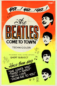 "The Beatles Come to Town (United Artists, 1963). Folded, Very Fine-. Silk Screen Day-Glo One Sheet (28"" X 42"")..."