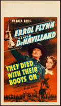 "Movie Posters:Western, They Died with Their Boots On (Warner Bros., 1941). Very Fine. Midget Window Card (8"" X 14"").. ..."