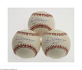 "Autographs:Baseballs, Joe DiMaggio ""#5"" Single Signed Baseball Lot of 3...."