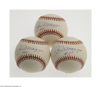 """Joe DiMaggio """"#5"""" Single Signed Baseball Lot of 3. Trio of OAL (Budig) balls offers the highly desirable signa..."""
