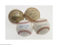 Autographs:Baseballs, Single Signed Baseball Lot of 4....