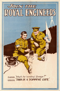 """British Recruitment Poster (1919). Very Fine- on Linen. British Double Crown (20"""" X 30"""") """"Join the Royal..."""