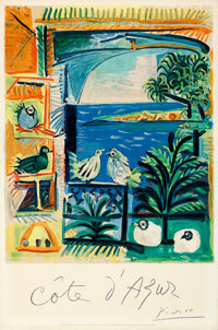 """Côte d'Azur by Pablo Picasso (French Government, 1962). Rolled, Fine/Very Fine. French Travel Poster (26"""" X 3..."""