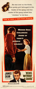 """Movie Posters:Drama, Rebel Without a Cause (Warner Bros., 1955). Very Fine+ on Paper. Insert (14"""" X 36"""").. ..."""