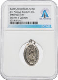 Explorers:Space Exploration, Jewelry: Saint Christopher Medal in Sterling Silver Directly From The Armstrong Family Collection™, CAG Certified....