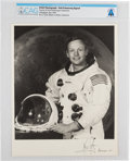 Explorers:Space Exploration, Neil Armstrong Uninscribed Signed White Spacesuit Photo Directly From The Armstrong Family Collection™, CAG Certified. ...