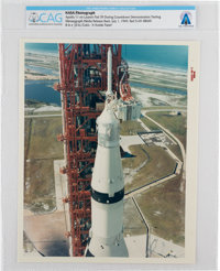 "Apollo 11: Original NASA ""Red Number"" Color Photo of the Saturn V at Launch Pad 39, July 1, 1969, Directly Fro..."