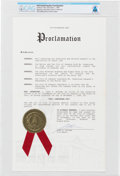 "Explorers:Space Exploration, Armstrong Family Personal: City of Lebanon, Ohio ""Neil Armstrong Day"" Proclamation, November 1, 1989 Directly From The Armstro..."
