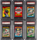 Baseball Cards:Unopened Packs/Display Boxes, 1973-1975 Topps Baseball Wax or Cello Pack PSA Mint 9 Collection (6)....