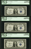 Small Size:Silver Certificates, Fr. 1610 $1 1935A S Silver Certificates. Cut Half Sheet of Six.. ... (Total: 6 notes)