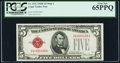 Small Size:Legal Tender Notes, Fr. 1531 $5 1928F Wide I Legal Tender Note. PCGS Gem New 65PPQ.. ...
