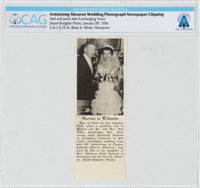Armstrong Family Personal: Neil and Janet Armstrong Wedding Announcement Newspaper Clipping, January 28, 1956 Directly F...
