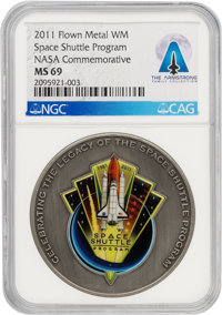 NASA: 2011 Space Shuttle Award Medal MS69 NGC Containing Flown Metal Directly From The Armstrong Family Collection™, CAG...