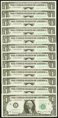 Complete District Set Fr. 1901-A-L $1 1963A Federal Reserve Noted. Choice Crisp Uncirculated or Better. ... (Total: 12 n...