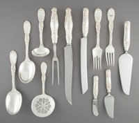 A Twelve-Piece Group of Tiffany & Co. Chrysanthemum Pattern Silver Flatware Servers