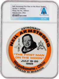 "Apollo 11 Neil Armstrong ""First Man on the Moon"" Button Directly From The Armstrong Family Collection™, CAG Ce..."