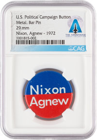 Armstrong Family Personal: Nixon & Agnew 1972 Presidential Campaign Button Directly From The Armstrong Family Co...