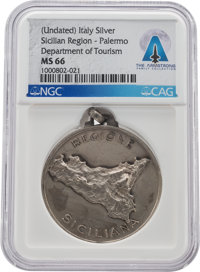 MEDALS: Palermo, Italy Department of Tourism Silver Medal MS66 NGC Directly From The Armstrong Family Collection™, CAG C...