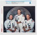 Explorers:Space Exploration, Apollo 11: NASA JSC White Spacesuit Crew Color Photo Directly From The Armstrong Family Collection™, CAG Certified....