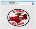 """Explorers:Space Exploration, Patches: """"Achtung! Red Baron"""" Embroidered Patch Directly From The Armstrong Family Collection™, CAG Certified...."""