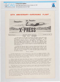 X-15: NACA High Speed Flight Station (HSFS) X-Press Newsletter, Extra Edition, Dated October 14, 1957, Directly Fr