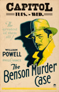 "Movie Posters:Mystery, The Benson Murder Case (Paramount, 1930). Fine/Very Fine. Window Card (14"" X 22"").. ..."