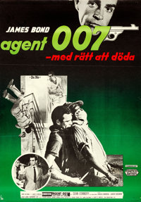 "Dr. No (United Artists, 1963). Flat Folded, Very Fine-. Full-Bleed Swedish One Sheet (27.5"" X 39.5""). Gosta Ab..."