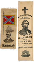 Political:Ribbons & Badges, Jefferson Davis & Robert E. Lee: Memorial Ribbons.... (Total: 2 Items)
