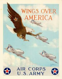 """U.S. Army Air Corps (U.S. Government Printing Office, 1939). Fine+ on Linen. Trimmed Recruitment Poster (25.25"""" X 3..."""