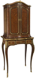 Furniture, A Fine French Louis XVI-Style Gilt Bronze Mounted Mahogany and Parquetry Cabinet on Stand, circa 1900. 62 x 28 x 16 inches (...