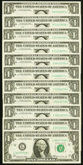 Small Size:Federal Reserve Notes, Near Complete Star District Set Fr. 1903-A*; B*; C*; D*; E*; F*; H*; I*; J*; K*; L* $1 1969 Federal Reserve Star Notes.. ... (Total: 11 notes)