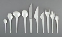 A One Hundred Thirty-Six-Piece Georg Jensen Caravelle Pattern Silver Flatware Service for Tw