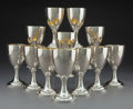 Silver & Vertu, A Set of Twelve Robert Hennell I Silver Wine Goblets, London, 1797. Marks: (lion passant), (crowned leopard's head), (duty m... (Total: 12 )