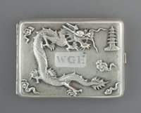 A Zee Sung Silver Cigarette Case, Shanghai, early 20th century Marks: CHINA, SUNG, SILVER 3-1/8 x 4-