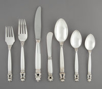 A Sixty-Three-Piece Georg Jensen Acorn Pattern Silver Flatware Service for Eight, Co