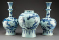Ceramics & Porcelain, A Three-Piece Dutch Delft Blue and White Garniture, early 18th century. 15 x 8 inches (38.1 x 20.3 cm) (jar). ... (Total: 3 Items)