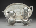 Silver Holloware, Chinese Export, A Five-Piece Tackhing Silver Coffee and Tea Service, Hong Kong, circa 1900. Marks to coffee pot: STERLING, TACKHING, MADE ... (Total: 5 Items)