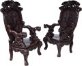 Furniture, A Pair of Japanese Carved Hardwood Arm Chairs, early 20th century. 53 x 31-1/2 x 21-1/2 inches (134.6 x 80.0 x 54.6 cm) (eac... (Total: 2 Items)