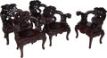 Furniture, A Group of Five Japanese Carved Hardwood Chairs, early 20th century. 34 x 28 x 21 inches (86.4 x 71.1 x 53.3 cm) (largest). ... (Total: 5 Items)