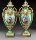 Ceramics & Porcelain, A Pair of Sèvres-Style Partial Gilt Porcelain Lamp Bases, France, late 19th-early 20th century. 41 x 9-1/2 x 7 inches (104.1... (Total: 2 Items)
