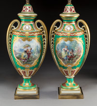 A Pair of Sèvres-Style Partial Gilt Porcelain Lamp Bases, France, late 19th-early 20th century 41 x 9-1/2 x 7 inc...